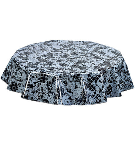 Freckled Sage Round tablecloth Black on White Day of Dead