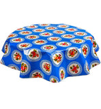 Round Oilcloth Tablecloth in Doily Blue