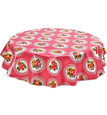 Round Oilcloth Tablecloth in Doily Pink