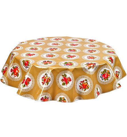Round Oilcloth Tablecloth in Doily Tan