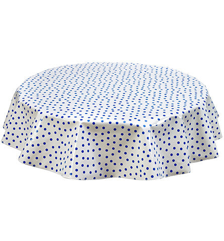 Freckled Sage Round Oilcloth Tablecloth Blue Dot