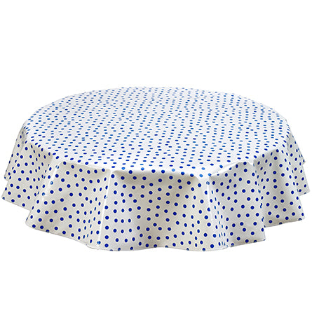 Slightly Imperfect Round Oilcloth Tablecloth in Blue Dot