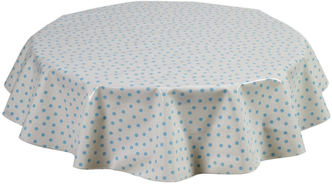 Freckled Sage Round Oilcloth Tablecloth Light Blue Dot
