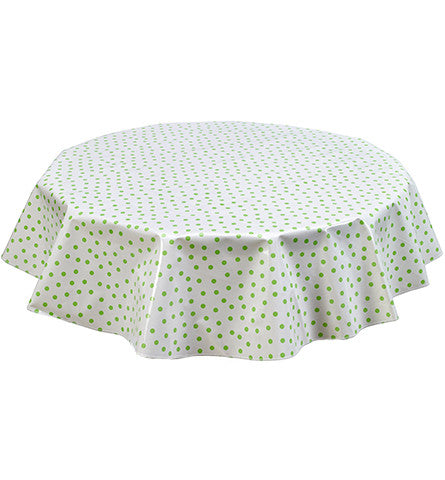 Freckled Sage Round Oilcloth Tablecloth Lime Dot