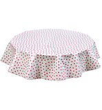 Freckled Sage Round Oilcloth Tablecloth Pink Dot