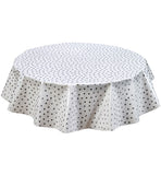 Freckled Sage Round Oilcloth Tablecloth Silver Dot