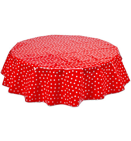 Round Oilcloth Tablecloth in Dot White on Red