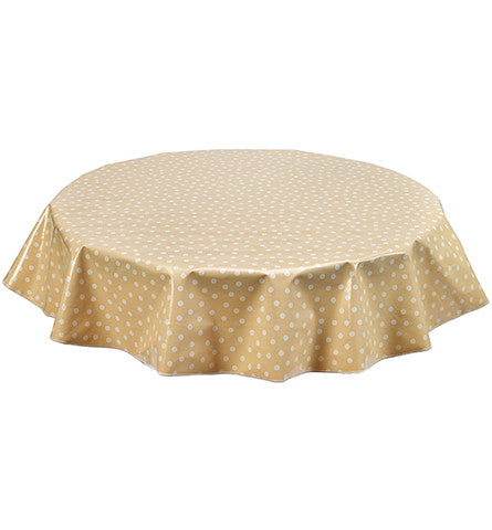 Freckled Sage Round Oilcloth Tablecloth White Dot on Tan