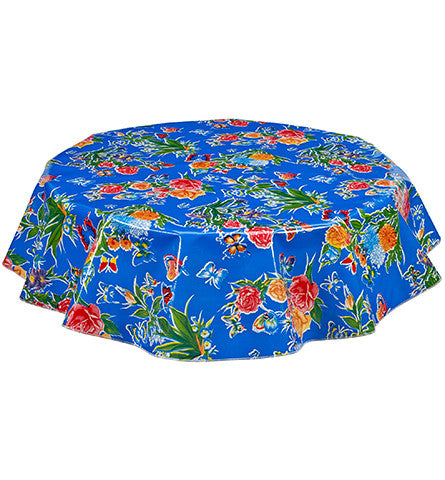 Freckled Sage Round Oilcloth Tablecloth Edgar's Butterfly Blue