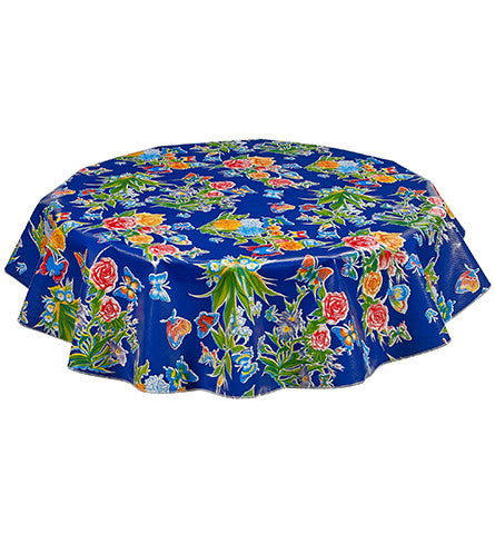 Freckled Sage Round Oilcloth Tablecloth Edgar's Butterfly Navy