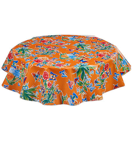 Freckled Sage Round Oilcloth Tablecloth Orange Butterfly