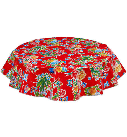 Freckled Sage Round Oilcloth tablecloth Butterfly Red