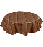 Freckled Sage Round Oilcloth Tablecloth Faux Bois Plank Walnut