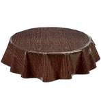 Freckled Sage Round Oilcloth Tablecloth Faux Bois Walnut