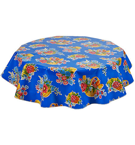 Round Oilcloth Tablecloth in Flower Basket Blue