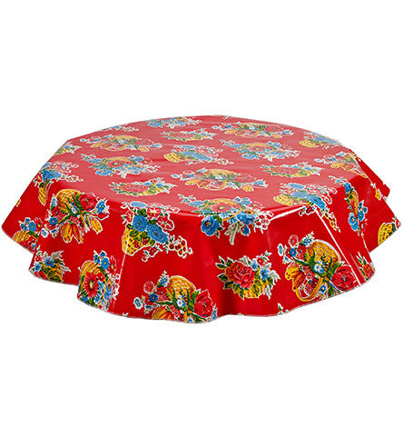 Freckled Sage Round Oilcloth Tablecloth Flower Basket Red