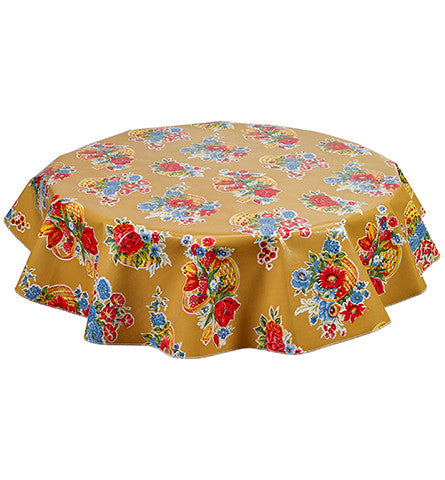 Freckled Sage Round Oilcloth Tablecloth Flower Basket Tan