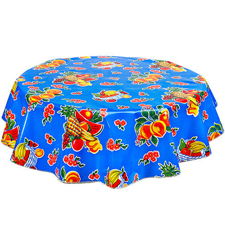 Freckled Sage Round Oilcloth Tablecloth Fruit Basket Blue
