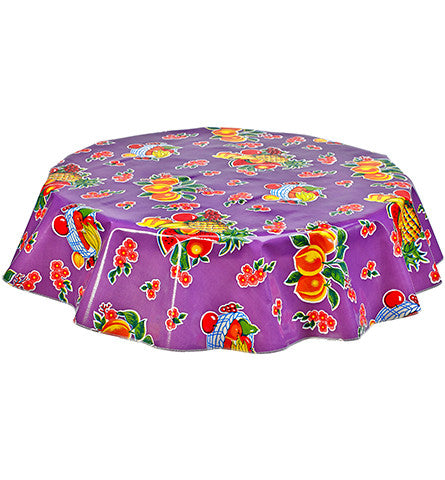 Freckled Sage Round Oilcloth Tablecloth Fruit Baskets Purple