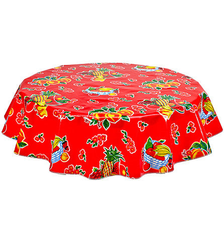 Freckled Sage Round Oilcloth Tablecloth Fruit Basket Red
