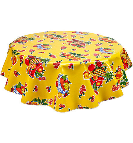 Freckled Sage Round Oilcloth Tablecloth Fruit Basket Yellow