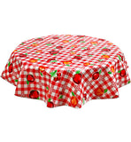 Freckled Sage Round Tablecloth Gingham & Fruit Red