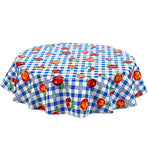 Freckled Sage Round Oilcloth Tablecloth Gingham and Fruit Blue