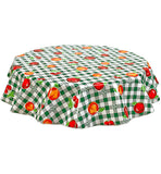 Freckled Sage Round Oilcloth Tablecloth Gingham and Fruit Green