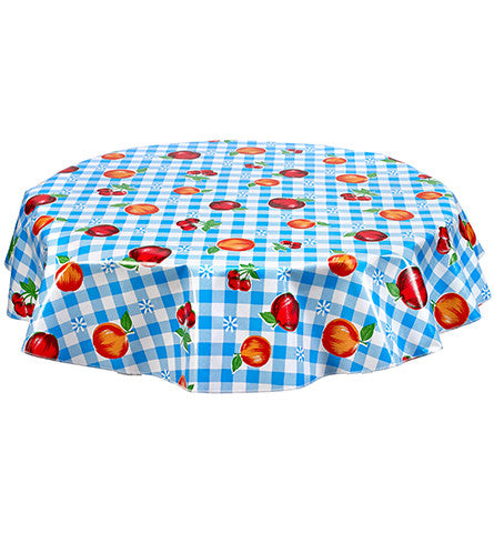 Freckled Sage Round Oilcloth Tablecloth Gingham and Fruit Light Blue