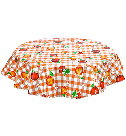 Round Oilcloth Tablecloth in Gingham and Fruit Orange