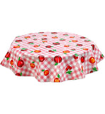 Freckled Sage Round Oilcloth Tablecloth Gingham and Fruit Pink