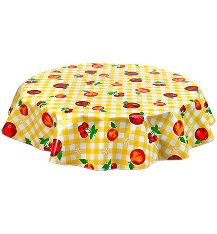 Freckled Sage Round Oilcloth Tablecloth Gingham and Fruit Yellow