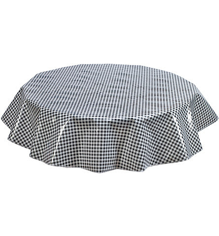 Freckled Sage Round Oilcloth Tablecloth Black Gingham