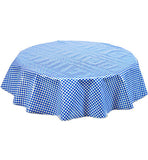 Freckled Sage Round Oilcloth Tablecloth Blue Gingham