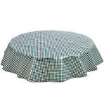 Freckled Sage Round Oilcloth Tablecloth Green Gingham