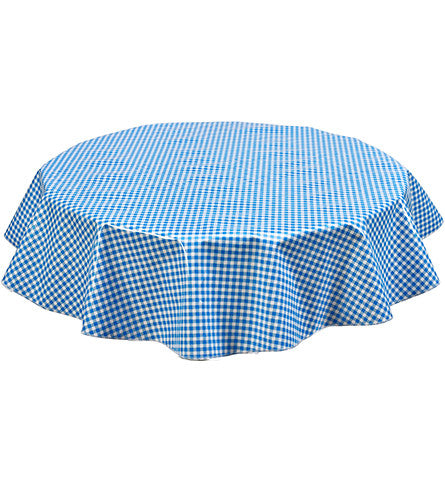 Round Oilcloth Tablecloth In Gingham Light Blue Freckled