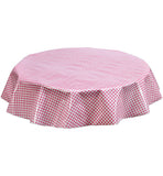 Freckled Sage Round Oilcloth Tablecloth Pink Gingham