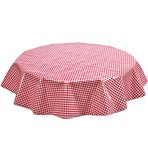 Freckled Sage Round Oilcloth Tablecloth Red Gingham