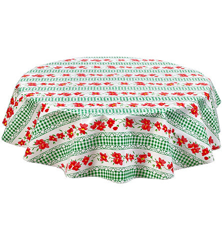 Round Flowers And Gingham Green Oilcloth Tablecloths