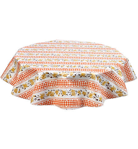Round Flowers and Gingham Orange Oilcloth Tablecloth