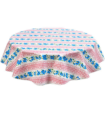 Round Flowers and Gingham Pink Oilcloth Tablecloths