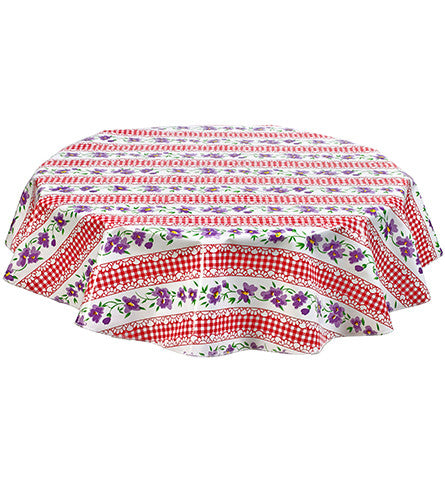 Freckled Sage ROund Tablecloth Flowers & Gingham Red