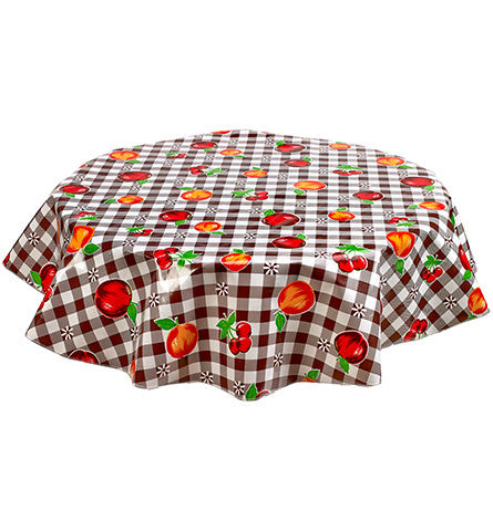 Freckled Sage Round Oilcloth Tablecloth Gingham and Fruit Brown