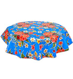 Freckled Sage Round Oilcloth Tablecloth in Blue Hawaii