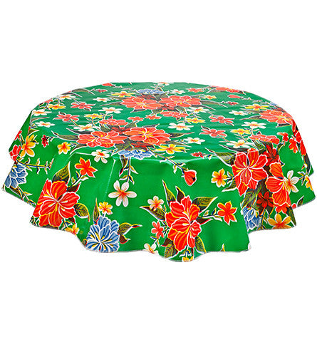 Round Oilcloth Tablecloth in Hawaii Green