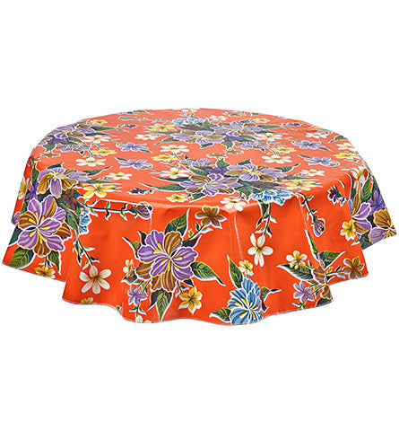 Freckled Sage Round Oilcloth Tablecloth Hawaii Orange