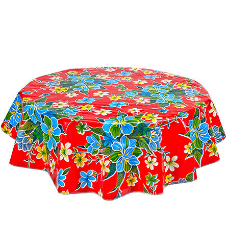 Round Oilcloth Tablecloth In Hawaii Red Freckled Sage