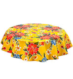 Freckled Sage Round Oilcloth Tablecloth Hawaii Yellow