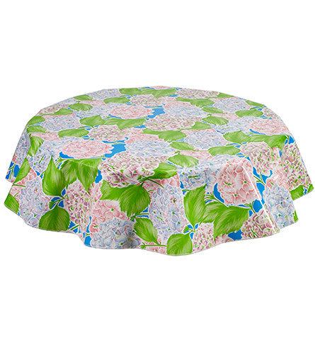 Freckled Sage Round Oilcloth Tablecloth Hydrangea Blue