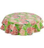 Freckled Sage Round Oilcloth Tablecloth Hydrangea Green